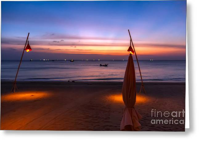 Sunset Lanta Island  Greeting Card by Adrian Evans