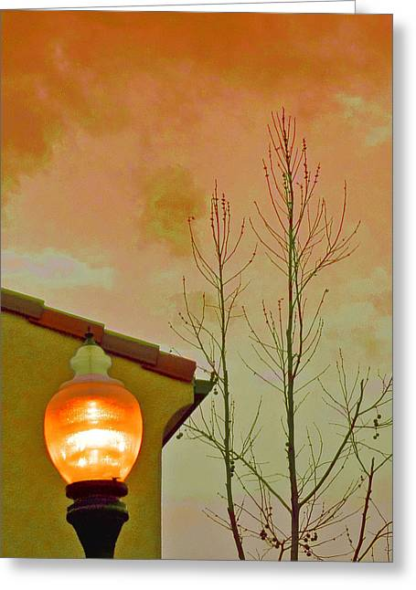 Night Lamp Greeting Cards - Sunset Lantern Greeting Card by Ben and Raisa Gertsberg