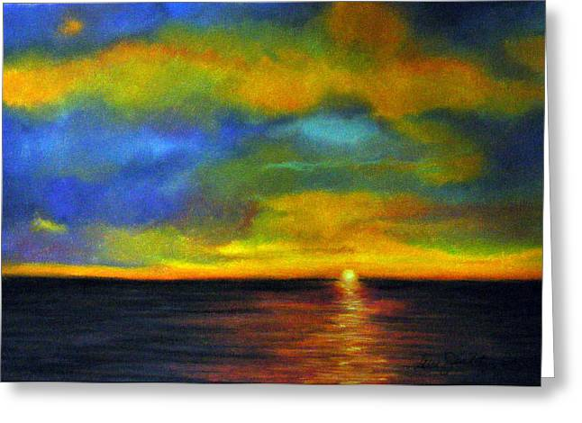Ocean Scenes Pastels Greeting Cards - Sunset Greeting Card by Lenore Gaudet