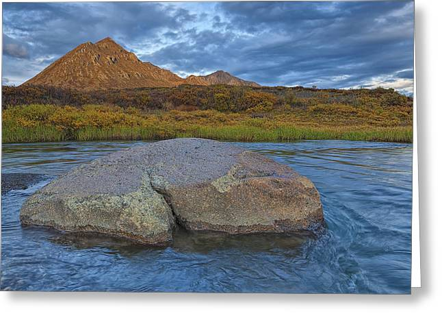 Blackstone River Greeting Cards - Sunset Light Hitting Angelcomb Peak And Greeting Card by Robert Postma