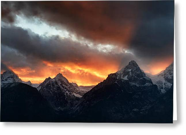 Night Photography Workshop Greeting Cards - Sunset Light Rays From The Tetons Greeting Card by Mike Berenson