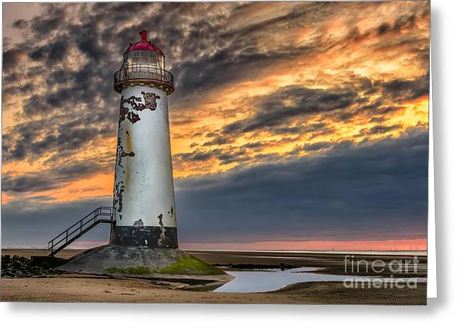 Dome Light Greeting Cards - Sunset Lighthouse Greeting Card by Adrian Evans