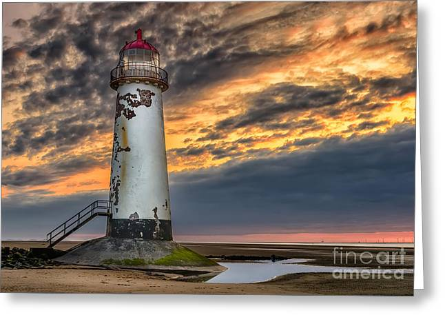 Crooked Greeting Cards - Sunset Lighthouse Greeting Card by Adrian Evans