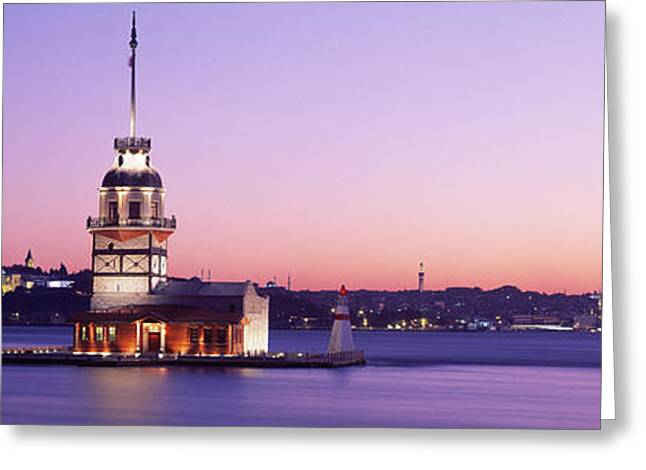 Istanbul Greeting Cards - Sunset Lighthouse Istanbul Turkey Greeting Card by Panoramic Images