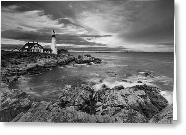 Coastal Maine Greeting Cards - Sunset Lighthouse Greeting Card by Jon Glaser