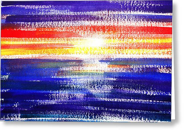 Sunset Abstract Greeting Cards - Sunset Lines Abstract Greeting Card by Irina Sztukowski