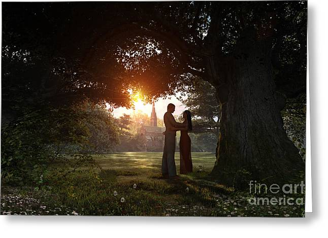 Hug Digital Art Greeting Cards - Sunset Lovers Greeting Card by Dominic Davison