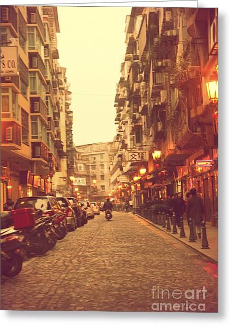 Streetview Greeting Cards - Sunset Macau Street Greeting Card by Ernst Cerjak