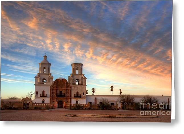 Catholic Mission Greeting Cards - Sunset Majesty Mission San Xavier Del Bac Greeting Card by Bob Christopher