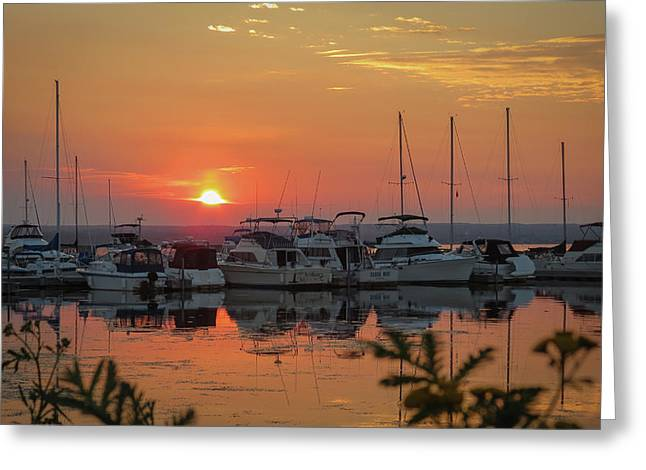 Docked Boat Greeting Cards - Sunset Marina Greeting Card by Patti Deters