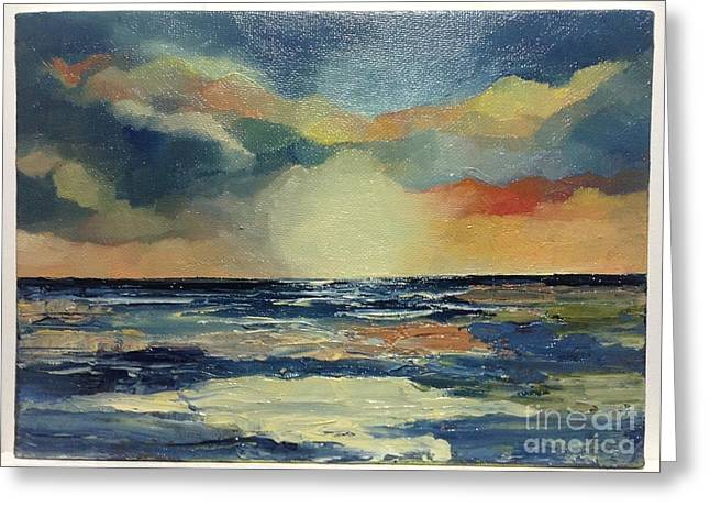 Pallet Knife Greeting Cards - Sunset Greeting Card by Mary Roberts