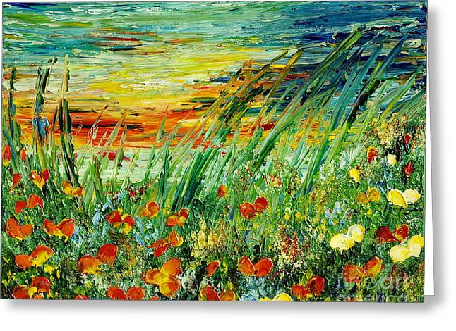 Sunset Abstract Greeting Cards - SUNSET MEADOW series Greeting Card by Teresa Wegrzyn