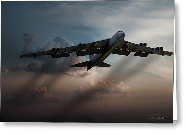 B-52 Greeting Cards - Sunset Mission Greeting Card by Peter Chilelli