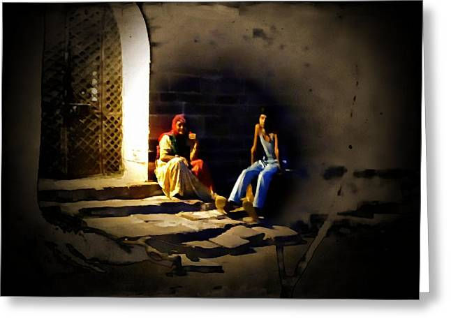 Light And Dark Greeting Cards - Sunset Moments with Mom India Rajasthan Jodhpur Greeting Card by Sue Jacobi