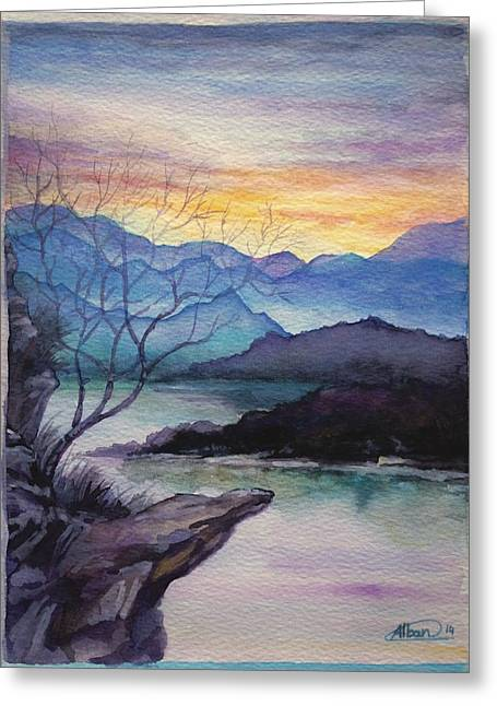 Beach Landscape Drawings Greeting Cards - Sunset Montains Greeting Card by Alban Dizdari