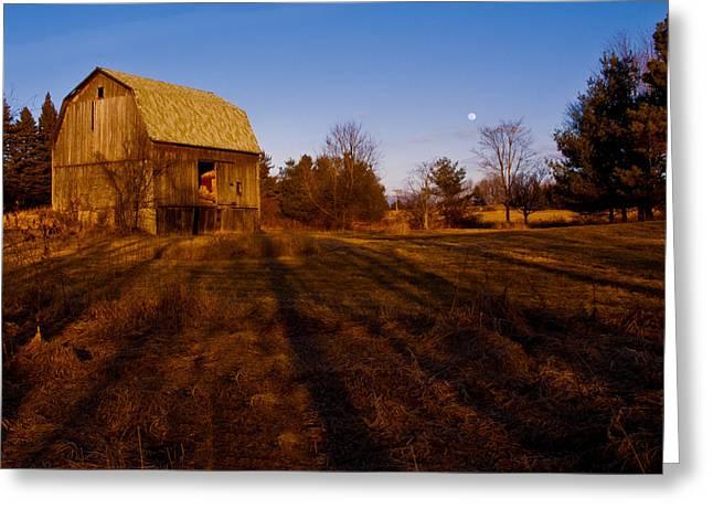 Sunset Moon Rise On The Farm Greeting Card by LeeAnn McLaneGoetz McLaneGoetzStudioLLCcom
