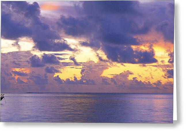 Pacific Islands Greeting Cards - Sunset Moorea French Polynesia Greeting Card by Panoramic Images