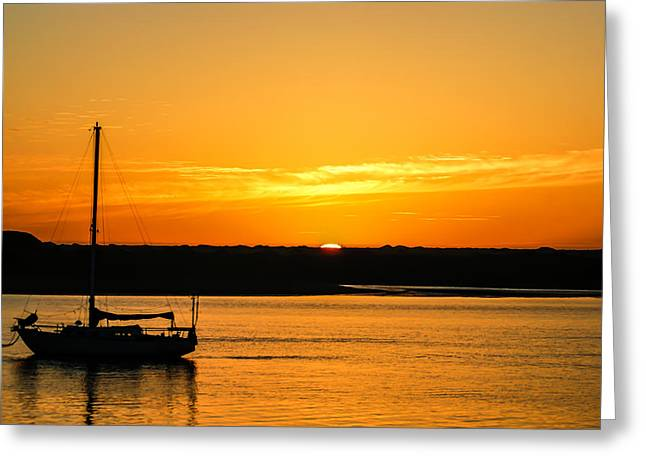 Morro Bay Greeting Cards - Sunset Morro Bay California Greeting Card by Ernie Echols