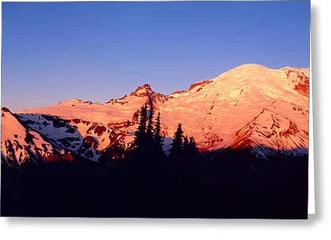 Snow Capped Greeting Cards - Sunset Mount Rainier Seattle Wa Greeting Card by Panoramic Images