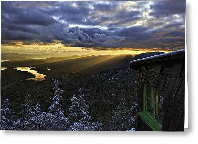 Mountain Cabin Greeting Cards - Sunset Mt Blaine-Golden Light Beams-1 Greeting Card by Evan Spellman