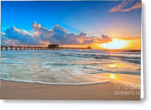 Sunset Posters Greeting Cards - Sunset Naples Pier Greeting Card by H Leschmann
