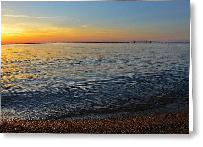 Chesapeake Bay Bridge Greeting Cards - Sunset near Chesapeake Bay Bridge Greeting Card by Marianna Mills