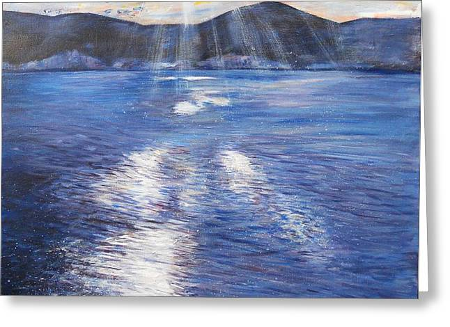Sunset near Myrtos Beach Kefalonia Greeting Card by Robina Osbourne