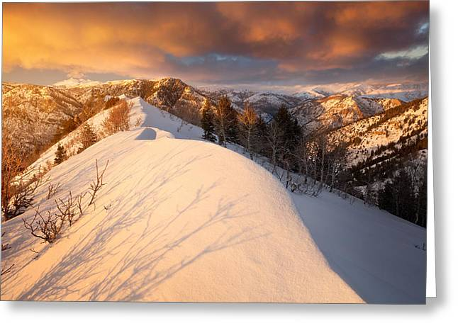 Snow Drifts Greeting Cards - Sunset Near Snowbasin Greeting Card by Rory Wallwork