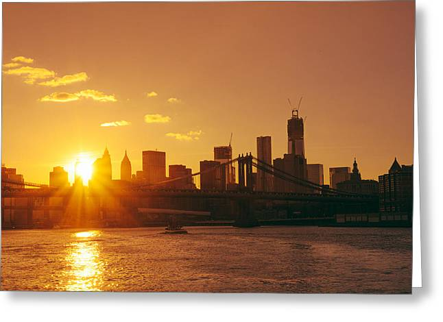 Financial Greeting Cards - Sunset - New York City Greeting Card by Vivienne Gucwa