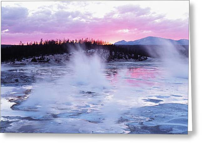 Geyser Greeting Cards - Sunset, Norris Geyser Basin, Wyoming Greeting Card by Panoramic Images