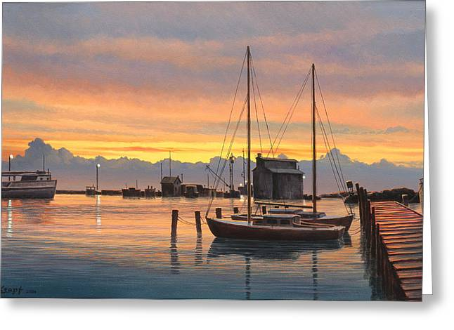 Sunset-north Dock At Pelee Island   Greeting Card by Paul Krapf