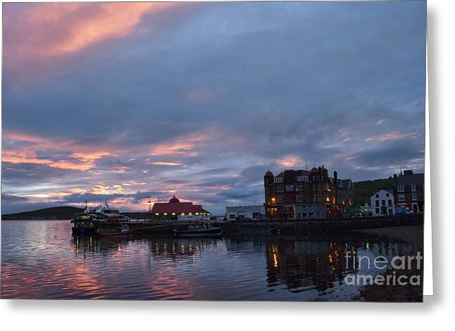 Port Town Greeting Cards - Sunset Oban Scotland Greeting Card by Juli Scalzi