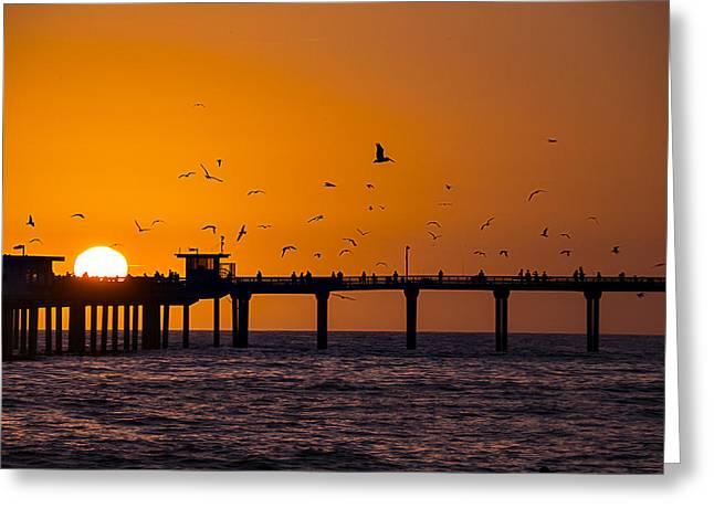 California Ocean Sunset Greeting Cards - Sunset Ocean Beach pier Greeting Card by Garry Gay