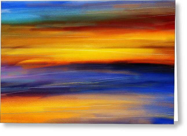 Abstract Seascape Art Greeting Cards - Sunset Of Light Greeting Card by Lourry Legarde