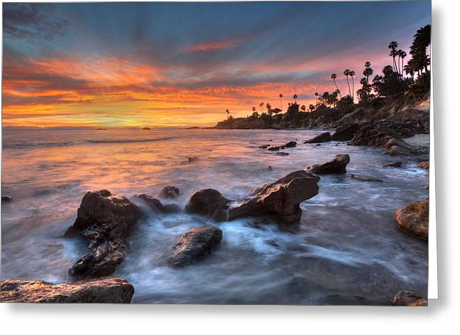 Heisler Park Greeting Cards - Sunset off the California Coast Greeting Card by Cliff Wassmann