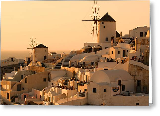 Sunset Scenes. Pyrography Greeting Cards - Sunset Oia Santorini Greeting Card by Saul Moreno