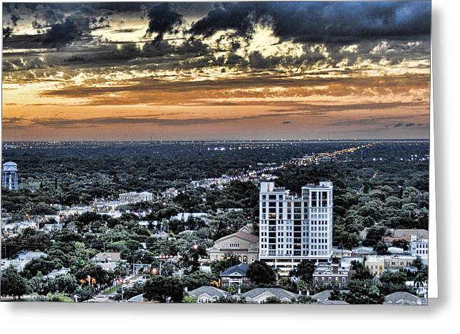 St Petersburg Florida Greeting Cards - Sunset on 42nd Street Greeting Card by Sherry Williamson