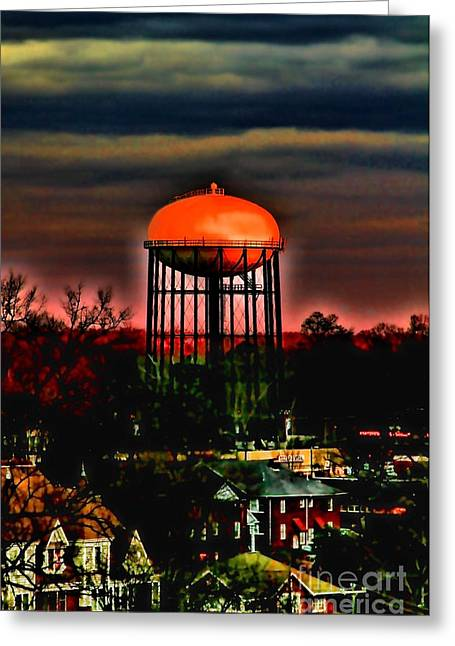 Charlotte Greeting Cards - Sunset on a Charlotte Water Tower by Diana Sainz Greeting Card by Diana Sainz