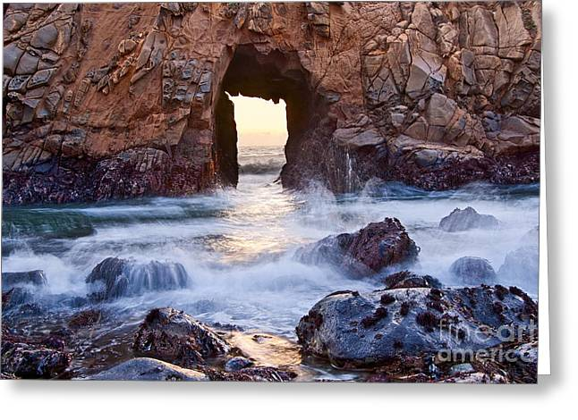 Sunset On Arch Rock In Pfeiffer Beach Big Sur California. Greeting Card by Jamie Pham