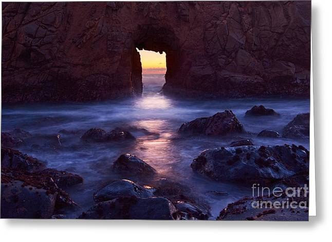 Pfeiffer Beach Greeting Cards - Sunset on Arch Rock in Pfeiffer Beach Big Sur in California. Greeting Card by Jamie Pham