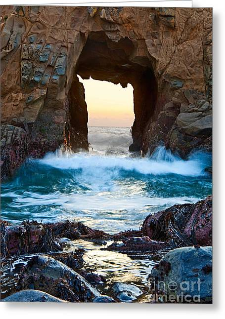 Pfeiffer Beach Greeting Cards - Sunset on Arch Rock in Pfeiffer Beach Big Sur. Greeting Card by Jamie Pham