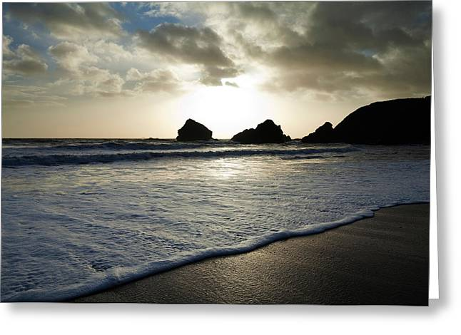 Sandy Beaches Greeting Cards - Sunset On Ballydowane Beach, Bunmahon Greeting Card by Panoramic Images