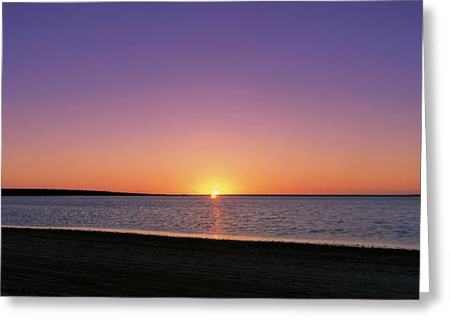 Meditate Greeting Cards - Sunset On Beach Australia Greeting Card by Panoramic Images