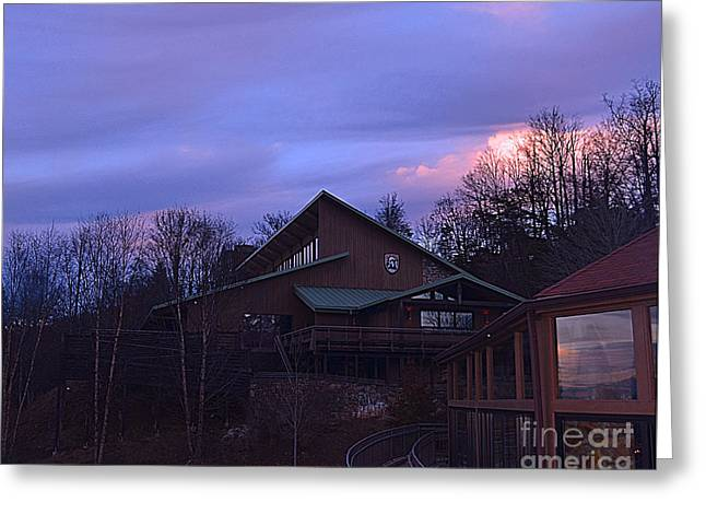 Nc Estate Greeting Cards - Sunset On Blue Ridge Mountain Chalet Greeting Card by Luther   Fine Art