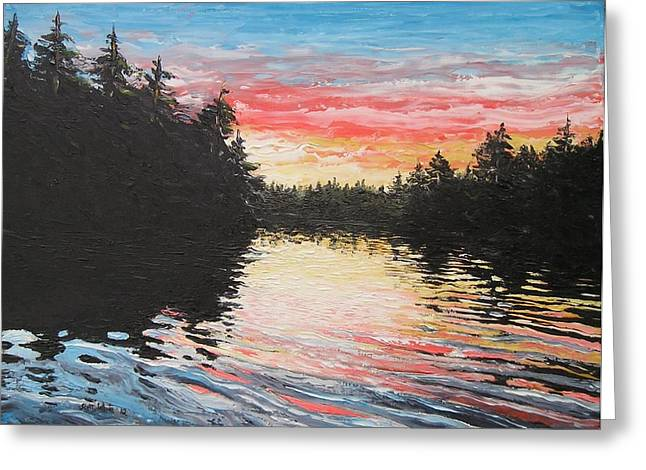 Pallet Knife Greeting Cards - Sunset on Buckhorn Lake Greeting Card by Scott White