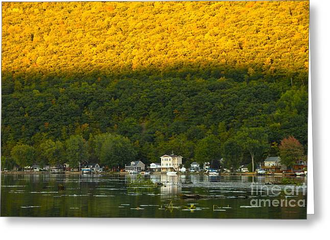 Canandaigua Greeting Cards - Sunset on Canandaigua Lake Greeting Card by Steve Clough