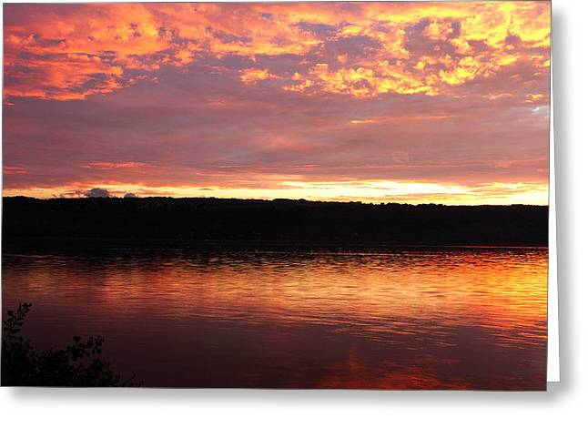 Sunset On Cayuga Lake Cornell Sailing Center Ithaca New York II Greeting Card by Paul Ge