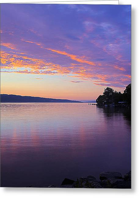 Photo-realism Greeting Cards - Sunset On Cayuga Lake Cornell Sailing Center Ithaca New York III Greeting Card by Paul Ge