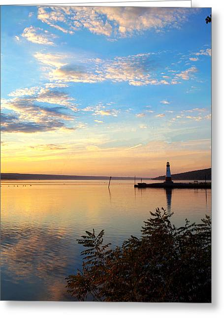Photo-realism Greeting Cards - Sunset On Cayuga Lake II Ithaca New York Greeting Card by Paul Ge
