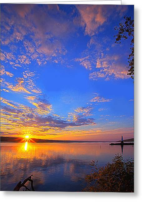 Photo-realism Greeting Cards - Sunset On Cayuga Lake III Ithaca New York Greeting Card by Paul Ge